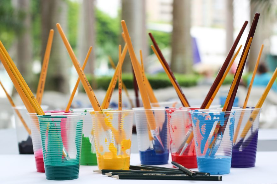 Paint brush in cups